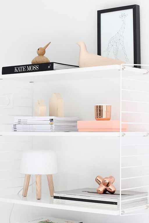 white shelves copper
